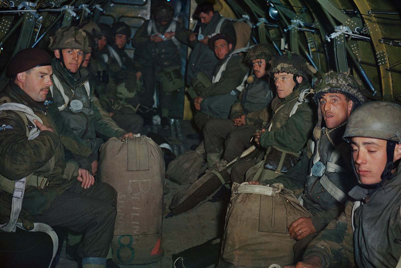 British paratroopers prepare for a practice jump from an RAF Dakota based at Down Ampney in Wiltshire. 1944.