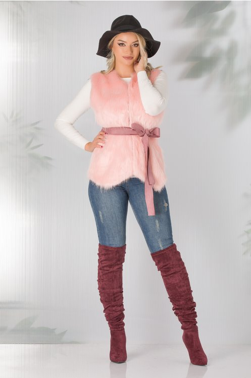 Vesta blainita artificiala lila roz si cordon in talie