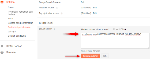 yakni sebuah file yang berisi ID Penayangan iklan Anda yang mempunyai kegunaan untuk memastikan bah Cara Memasang File ads.txt Di Blogspot