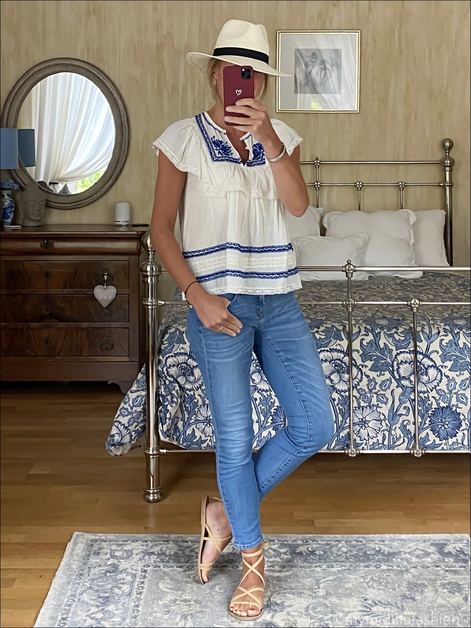 my midlife fashion, sea embroidered frill top, Zara Panama hat, j crew 8 inch toothpick jeans, Ancient Greek leather lace up sandals