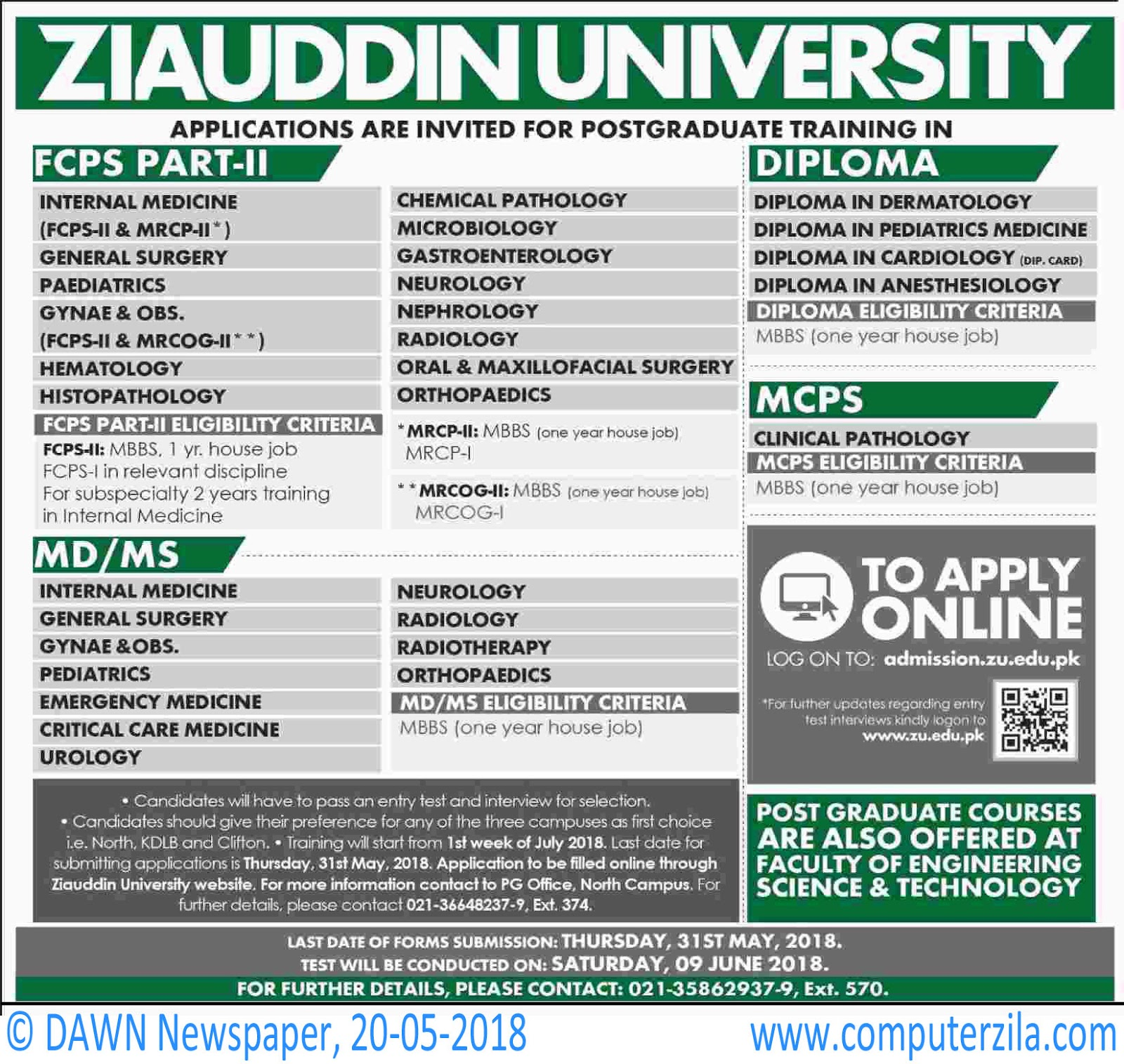 Ziauddin University Admissions Fall 2018