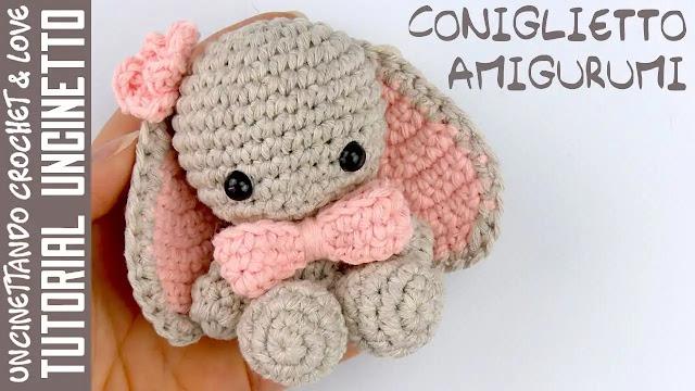 Tutorial Tierno Conejito Amigurumi a Crochet con Subtítulos en Español e Inglés