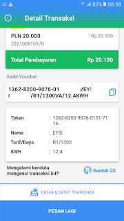 Contoh kode voucher token listrik prabayar Payfazz