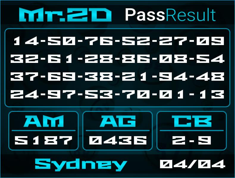 Prediksi Mr.2D   PassResult - Kamis, 4 April 2021 - Prediksi Togel Sydney