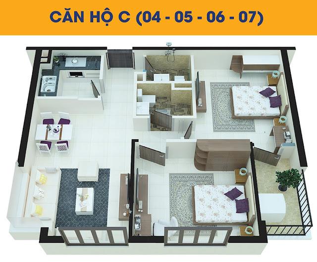 Thiết kế căn hộ 2 phòng ngủ loại C tòa C2