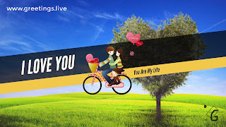 Love tree love pair on bicycle with love balloons blue sky green gross ground