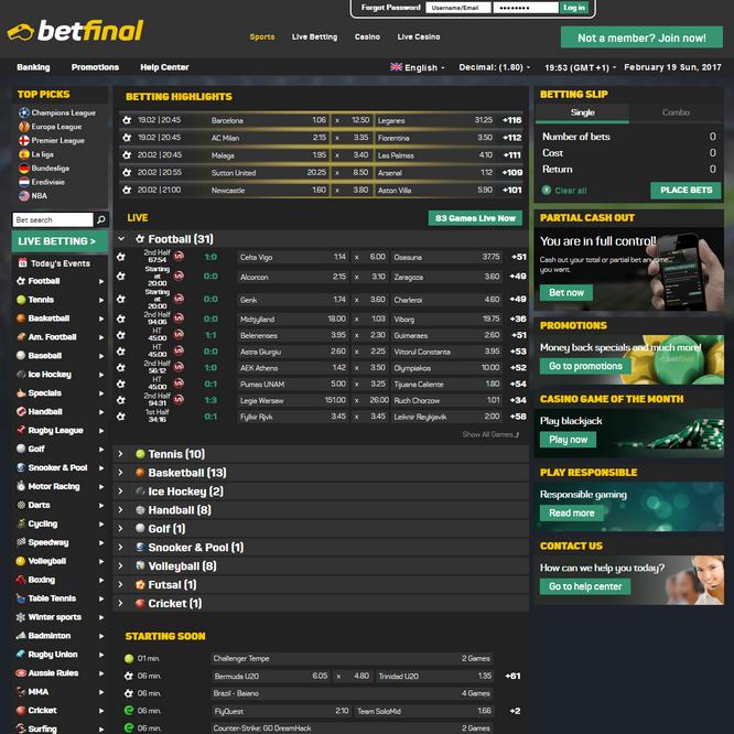 Betfinal Bets