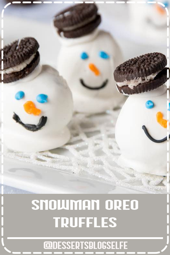 Snowman Oreo Truffles are perfect for the holidays with soft oreo cheesecake on the inside and a cute snowman decoration on the outside. Great for a party. So fun! #DessertsBlogSelfe #party #Oreo #DessertsforParties #christmas