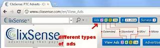 Contoh gambar cara klik iklan di Ptc clixsense