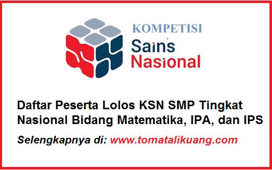 daftar peserta ksn smp tingkat nasional tahun 2020 bidang ipa ilmu pengetahuan alam tomatalikuang.com