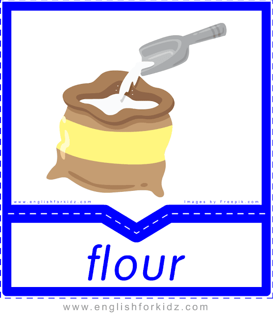Flour - English food flashcards for ESL students