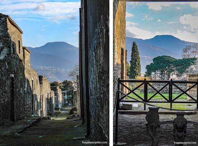 O Vulcão Vesúvio visto do Sítio Arqueológico de Pompeia