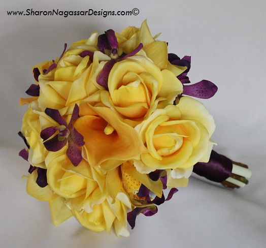 Bouquet Bridal: Purple And Yellow Bouquets