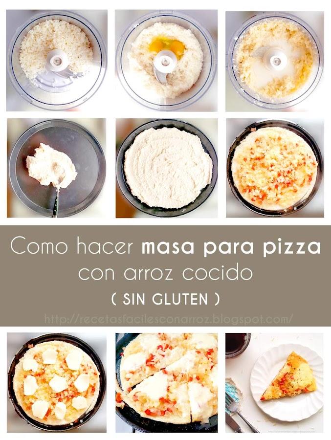pizza arroz cocido foto tutorial