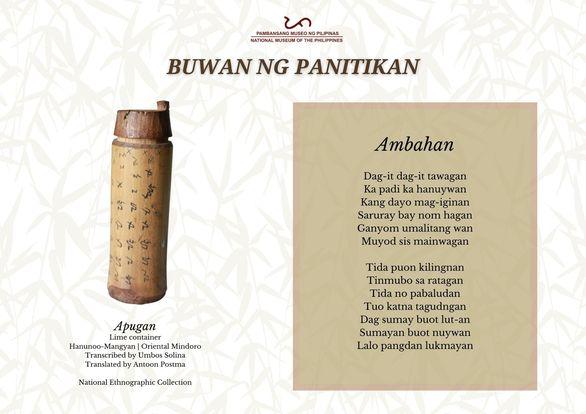 Ambahan Surat Mangyan - Kahusayang Pampanitikan ng mga Hanunuo-Mangyan sa Oriental Mindoro [Buwan ng Panitikan]
