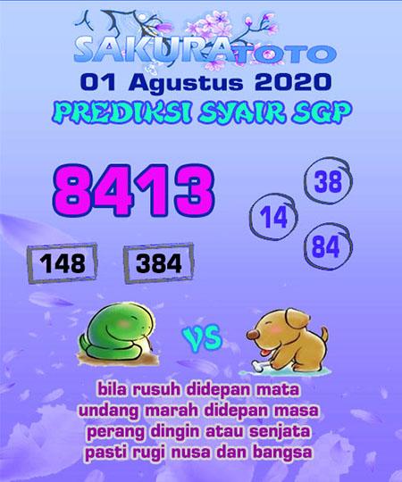 Prediksi Sakuratoto SGP Sabtu 01 Agustus 2020