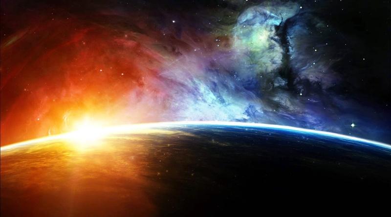 imagem do nascer do sol visto na órbita do planeta