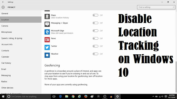 Disable Location Tracking on Windows 10