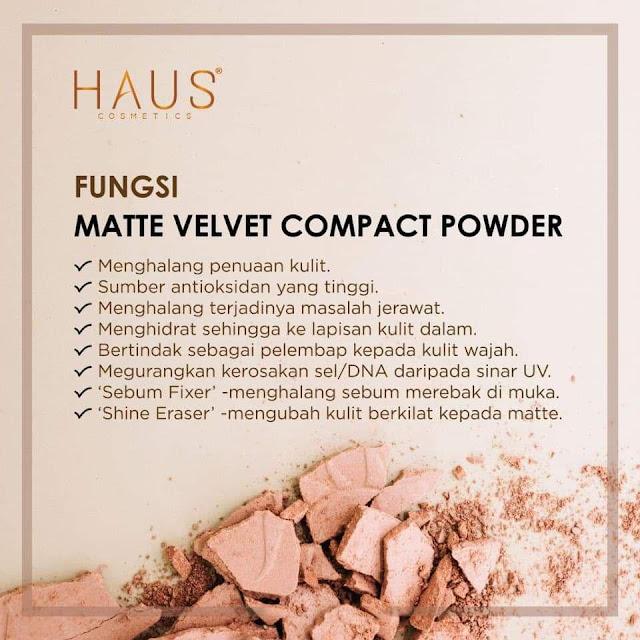 Fungsi Matte Velvet Cmpact Powder By Haus Cosmetics