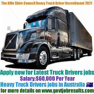 The Hills Shire Council Heavy Truck Driver Recruitment 2021-22