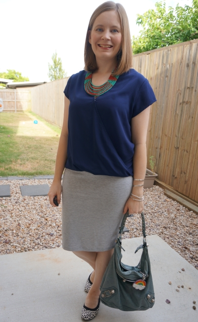 navy wrap top with statement necklace and grey jersey pencil skirt, printed flats summer office outfit | awayfromblue