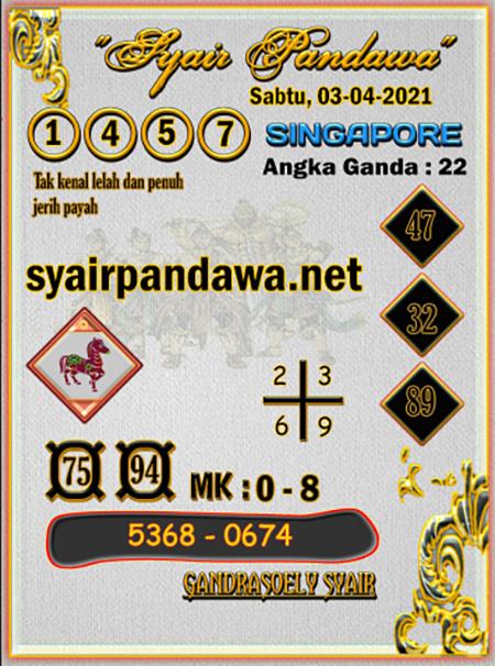 Prediksi Pandawa SGP Sabtu 03-Apr-2021