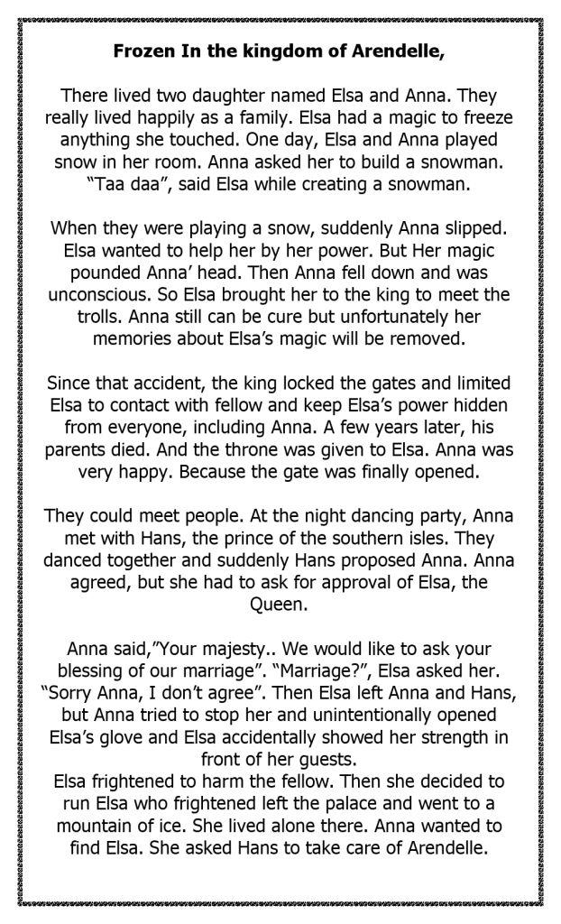 Cerita Dongeng Elsa Anna Bahasa Inggris dan Terjemahan