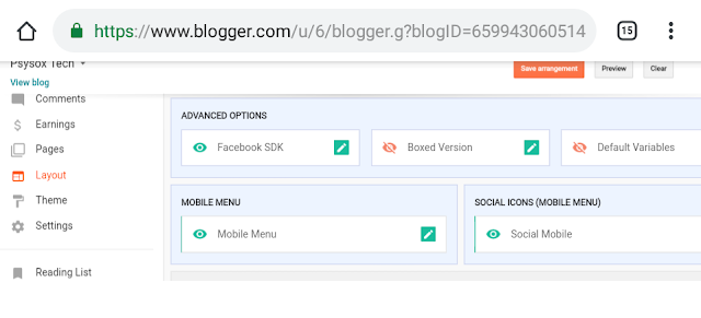 feature in layout option in blog