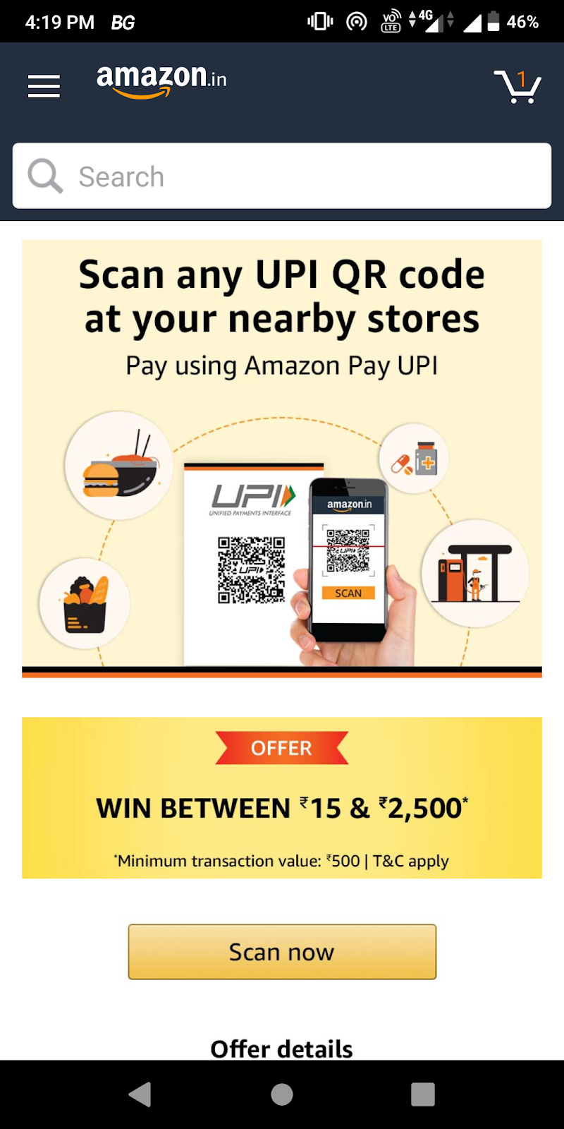 Amazon Scan And Pay Offers: Win Between Rs15 & rs2,500  Amazon Balance