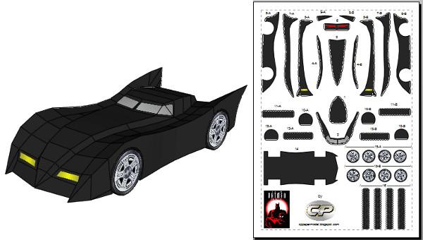 Batmobile paper model build instruction