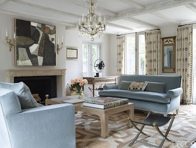 Emma Jane Pilkington home living room with two blue sofas