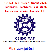 CSIR-CIMAP Recruitment 2020, Technician, Technical Assistant, Junior secretariat Assistant