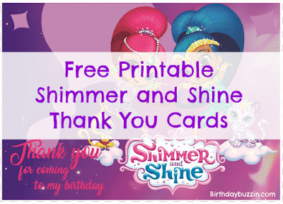 Shimmer and Shine Thank you cards