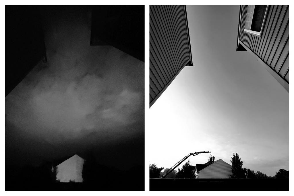A monochrome frame of a townhome with dirty sidings on a cloudy moonlight night, lit by street light juxtaposed alongside a monochrome frame of a silhouette of man unloading roofing tiles from a crane onto a roof of a townhome on a bright sunny day
