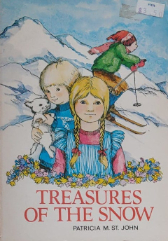 Treasure of the snow cover from the the late 1970s or early 1980s featuring hand drawn illustration of a girl, a little boy and a cat, a boy skiing, with mountains in the background.