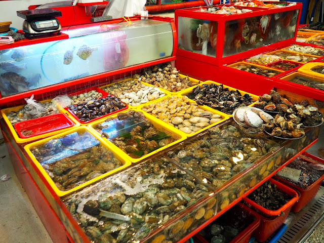 Seafood for sale in Jagalchi Market, Nampo-dong, Busan, South Korea