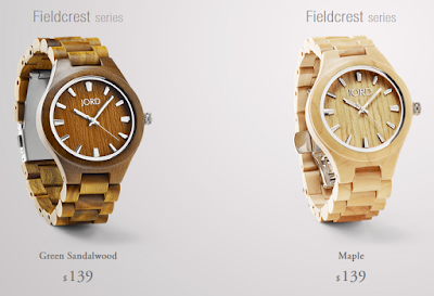 Picture of JORD wooden fieldcrest series watches in green sandalwood and maple