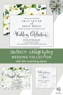 southern belle calligraphy wedding celebration invitation with floral backing, faded floral bridal shower invitation, nothing fancy just love calligraphy wedding reception napkin