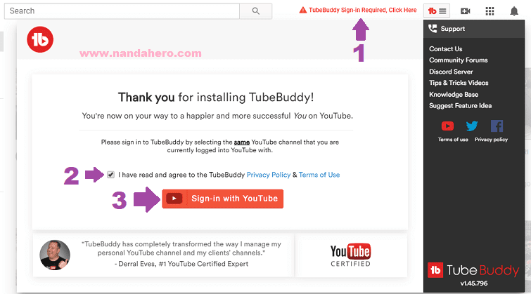sign in tubebuddy youtube