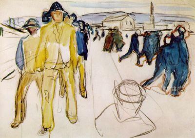 Эдвард Мунк - Рабочие на пути домой. 1920
