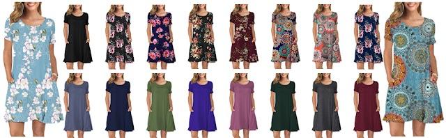 Women's Summer Casual Fashion T-Shirt Dresses Short Sleeve Swing Dress Pockets