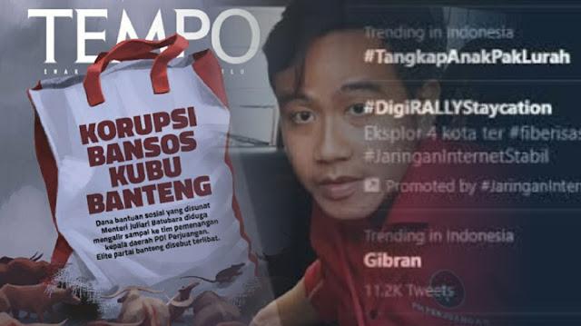 Tagar #TangkapAnakPakLurah Trending, Investigasi TEMPO Seret Nama Gibran di Skandal Korupsi Bansos