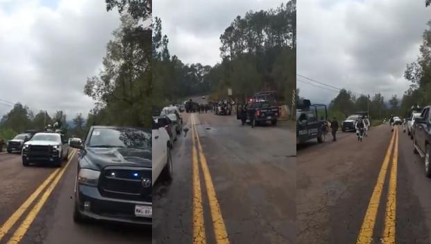 VIDEO.- Convoy de Militares, Federales y Estatales son emboscados en  carretera Toluca-Cd Altamirano Sicarios de LFM queman vehículo para coartarles el paso y después atorarlos