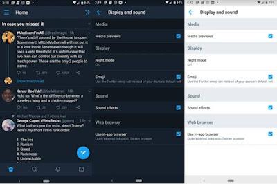 تويتر تقوم باضافة وضع ليلي لتطبيقها على اجهزة اندرويد