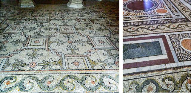 Pisos em mosaicos na Basílica de San Vitale, Ravena, Itália