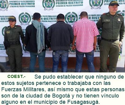 Capturados portando sospechosamente prendas privativas de las fuerzas militares.