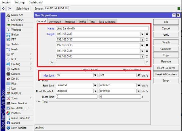 Limit Bandwidth di Mikrotik