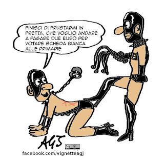 Primarie PD, scheda bianca, due euro, masochismo, vignetta satira
