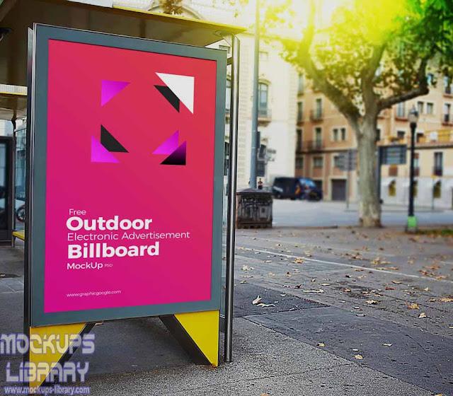 outdoor electronic billboard mockup
