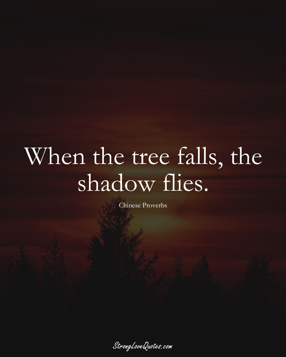 When the tree falls, the shadow flies. (Chinese Sayings);  #AsianSayings